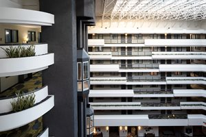 Experience the open space of our 8-story atrium